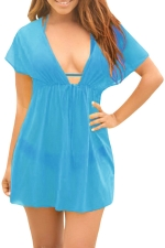 Womens Sexy Sheer Mesh Deep V Neck Plain Beach Dress Blue