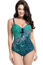 Womens Sexy Plus Size Floral Printed One Piece Swimsuit Green
