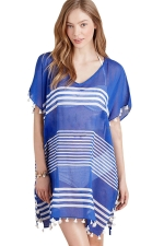 Womens Sexy Sheer Striped Side Slit Tassel Beach Dress Blue