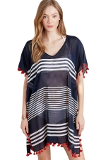 Womens Sexy Sheer Striped Side Slit Tassel Beach Dress Navy Blue