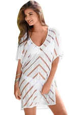 Womens Sexy Sheer Striped Side Slit Beach Dress White