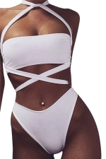 Womens Sexy Cross Bandage Bandeau Bikini Top&Bathing Suit Bottom White
