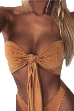 Womens Sexy Bandeau Bow Bikini Top&Plain Bathing Suit Bottom Brown