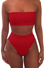 Womens Sexy Plain Bandeau Top&High Waist Bottom Bikini Set Red