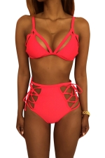 Womens Sexy Bikini Top&High Waist Lace-up Swimsuit Bottom Rose Red