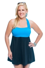 Womens Sexy Plus Size Color Block Skirted One Piece Swimsuit Blue