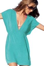 Womens Sexy Deep V Neck Plain Beach Dress Light Blue
