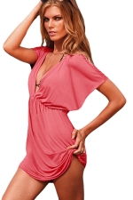 Womens Sexy Deep V Neck Plain Beach Dress Watermelon Red
