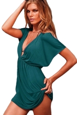 Womens Sexy Deep V Neck Plain Beach Dress Turquoise