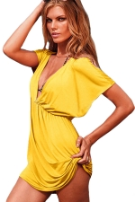 Womens Sexy Deep V Neck Plain Beach Dress Yellow