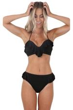 Womens Sexy Halter Ruffle Bikini Top&Bathing Suit Bottom Black