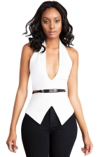 Womens Sexy Halter Deep V Neck Backless Plain Top White