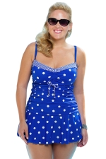 Womens Sexy Plus Size Polka Dot Ruched Skirts Swimsuit Sapphire Blue
