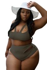 Womens Plus Size Cutout Top&High Waist Bottom Bikini Set Dark Green