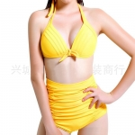 Womens Sexy Halter Top&High Waist Ruched Bottom Bikini Set Yellow