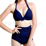 Womens Sexy Halter Top&High Waist Ruched Bottom Bikini Set Navy Blue