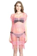 Womens Sexy Sheer Ruffle Plain Beach Dress Pink