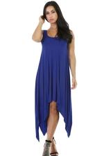 Womens Sexy Irregular Hem Plain Midi Tank Dress Blue
