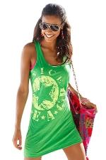 Womens Star Printed Mini Tank Dress Green