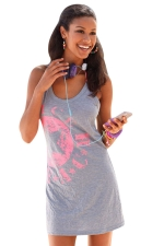 Womens Star Printed Mini Tank Dress Gray