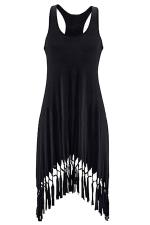 Womens U Neck Fringe Hem Plain Tank Dress Black