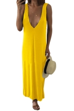 Womens Sexy V Neck Side Slit Plain Tank Dress Yellow