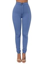Womens Sexy Slimming Plain High Waist Leggings Blue