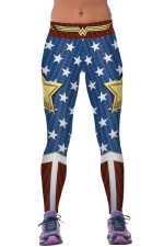 Womens Stars Printed Ankle Length Sports Leggings Blue