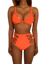 Womens Sexy Cutout Top&High Waist Lace-up Bottom Bikini Set Orange
