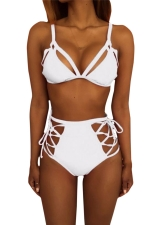 Womens Sexy Cutout Top&High Waist Lace-up Bottom Bikini Set White