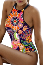 Womens Sexy Floral Criss Cross Backless One Piece Swimsuit Orange