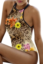 Womens Sexy Floral Criss Cross Backless One Piece Swimsuit Brown