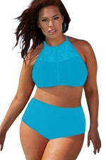 Womens Sexy Plus Size Mesh Top&High Waist Bottom Bikini Set Blue