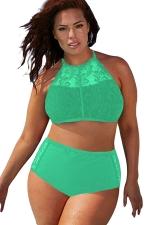 Womens Sexy Plus Size Mesh Top&High Waist Bottom Bikini Set Green