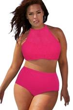 Womens Sexy Plus Size Mesh Top&High Waist Bottom Bikini Set Rose Red