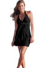 Womens Halter V Neck Plain Backless Beach Dress Black