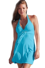 Womens Halter V Neck Plain Backless Beach Dress Light Blue
