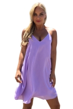 Womens V Neck Spaghetti Straps Plain Smock Dress Light Purple