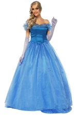 Womens Off Shoulder Cinderella Princess Halloween Costume Dress Blue