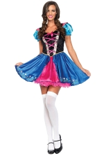 Womens Color Block Beer Girl Maid Halloween Costume Dress Blue