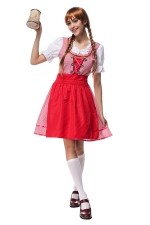 Womens Puff Sleeve Beer Maid Halloween Dress Costume Red