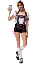 Womens Lace Up Side Embroidery Maid Halloween Costume Black