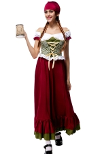 Womens Off Shoulder Ruffle Maid Halloween Maxi Dress Costume Ruby