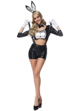 Womens Crop Top Suspender Shorts Bunny Halloween Costume Black