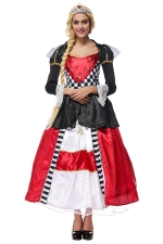 Womens Alice's Evil Queen Halloween Maxi Dress Costume Red