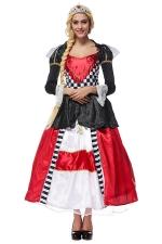 Womens Alice's Evil Queen Halloween Maxi Dress Costume Red