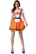 Womens Off Shoulder Short Sleeve Halloween Maid Costume Orange