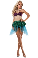 Womens Off Shoulder Color Block Mermaid Halloween Costume Green