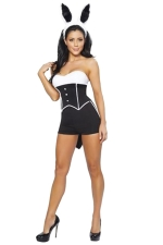 Womens Tube Bandeau Halloween Bunny Costume Black