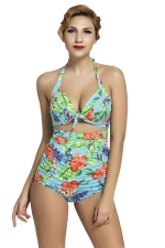 Womens Floral Plus Size Halter Top&High Waist Bottom Swimsuit Green